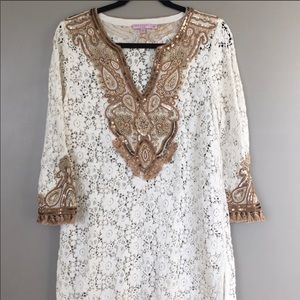 Calypso white-laced gold-sequined dress/suit cover